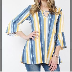 Denim Ivory Stripe Keyhole Bell-Sleeve Tunic